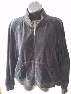 FUDA Women Zip-front black Fleece Track Yoga Sweat Jacket sz L  #FUDA #TrackJacket