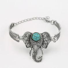 Elephant and Turquoise Adjustable Cuff Bracelet