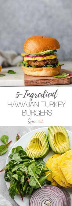 5 Ingredient Hawaiian Turkey Burgers (with grilled pineapple!)