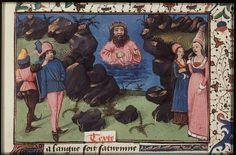 Saturn as model of discretion counsels those below not to speak too much  ----The Hague, KB, 74 G 27 .   Christine de Pisan, L'Epistre d'Othea Place of origin, date:  Auvergne(?); c. 1450-1475       http://manuscripts.kb.nl/show/manuscript/74+G+27