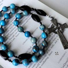 blue beads/cross