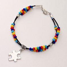 #AutismAwareness Bracelet, #Autism Beaded Leather Bracelet, Support Autism Puzzle Piece Charm, Asperger Syndrome Braclet ASD by EverydayWomenJewelry on Etsy