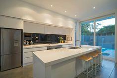 White cabinets + black splashback - kitchen