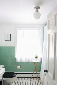 vintage bathroom Our Vintage Jadeite Bathroom {The Reveal} via Meet Me in Philadelphia Mint Green Bathrooms, Vintage Bathrooms, Mint Bathroom, 1950s Bathroom, Ikea Bathroom, Hall Bathroom, Family Bathroom, Bathroom Furniture, Joanna Gaines