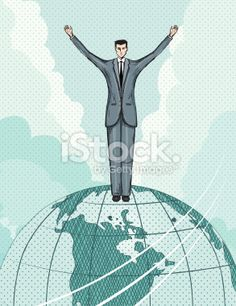 Businessman Standing On Top Of The World Royalty Free Stock Vector Art Illustration