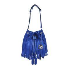 Bolsa de franjas : Bolsa saco com franjas azul Isabella Più. Loja virtual: WWW.NOTORE.COM.BR