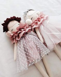 Just about to make a dash to the Post Office but thought l would share these girls before l do. They will be looking for homes tomorrow. So hope you like them, l am still having way too much fun playing with ruffles and tulle, l hope you don't mind xx Doll Toys, Baby Dolls, Fabric Toys, Creation Couture, Sewing Dolls, Doll Maker, Soft Dolls, Diy Doll, Toys For Girls