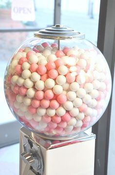 I think I'll paint my gumball machine pink and put white and pink gumballs in it! Pink Lady, Pink White, Hot Pink, Tout Rose, Deco Restaurant, Rose Bonbon, I Believe In Pink, Gumball Machine, Everything Pink