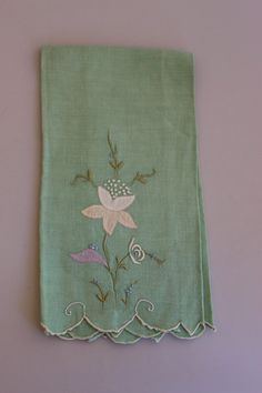 Beautiful Green Vintage Hand Towel Flower  by TwoCatsVintage, $3.00