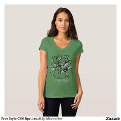 Free Style C66 Women's Bella+Canvas Jersey V-Neck T-Shirt (Color: Leaf)   #design #fashion #freestyle #women #tshirt