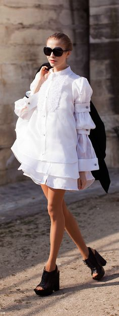Elena Perminova. White puff shirt. Open toe booties. Street style.