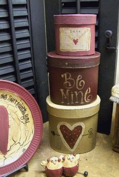 Primitive Valentine Stacking Boxes by GainersCreekCrafts on Etsy, $15.99