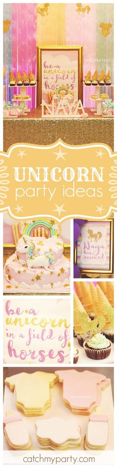 Check out this fabulous Unicorn baby shower. The dessert table & the gold table are fantastic!! See more party ideas and share yours at CatchMyParty.com
