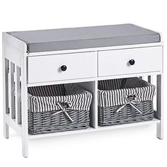 Hallway White & Grey MDF Storage Furniture - Drawers & Wicker Baskets with Striped Washable Lining & Bow Detail. Ideal For Scarves, Gloves, Hats, Bags & Mail Shoe Storage In Bedroom, Hallway Storage, Wardrobe Furniture, Hallway Furniture, Hat Storage, Storage Sets, Grey Wicker Baskets, Storage Unit Sizes, White Drawers