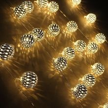 LED Metal Fairy light with 4CM Gold ball Ambiance decoration lighting for wedding/ christmas Great for Party, Bedroom Decor