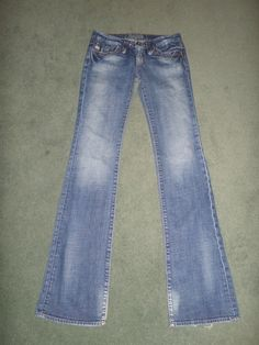 Women's Blue BIG STAR SWEET LOW BOOT Distressed Country Western Jeans, Size 26XL #BIGSTARSWEETLOWBOOT #LowBootCountryWesternEmbroideredPockets