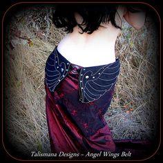 Utility Belt ~ Dark Angel Wings Hip Belt Bag w/ Pockets ~ Black Canvas Fabric ~ Vegan ~ Divine Gothic Goddess ~ Talismana Designs