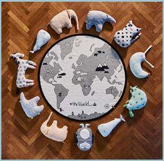 world map rug - kids rugs - children's rugs - oyoy - scandi rug - playmat - minimalist rug - nursery rugs - rugs for playroom - world map - black and white rug - monochrome rug - kids' rugs - go to your room! World Map Rug, World Map Design, Un Igloo, Save The Polar Bears, Objet Deco Design, Design Japonais, Danish Interior Design, Danish Design, Kids Decor