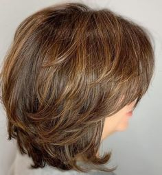 60 Most Universal Modern Shag Haircut Solutions - Feathered Bob with Golden Brown Balayage - Medium Shag Haircuts, Asymmetrical Bob Haircuts, Layered Bob Hairstyles, Feathered Hairstyles, Medium Shaggy Bob, Curly Hairstyles, Haircut Medium, Short Haircuts, Wedding Hairstyles