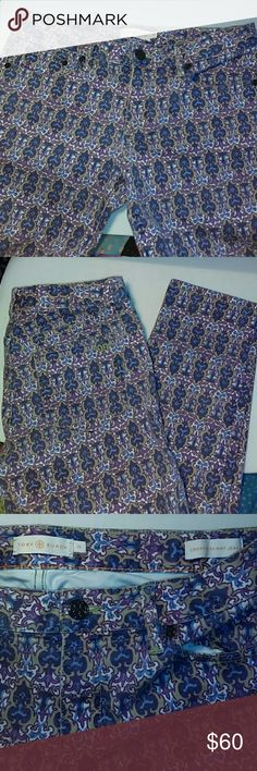 """NWOT TORY BURCH CROPPED SKINNY JEANS-SIZE 29 -Tory Burch Cropped Skinny Jeans -Size 29 -Brand New, Never Worn -Dynasty Caper Alexa Print -5 Pockets -Waistline , straight across, measures 16"""" -Hips, straight across, measures 17 1/2"""" - 18"""" -Inseam measures 27"""" in length -Bottom of pant legs measures 6 1/2"""", straight across -98% Cotton, 2% Spandex -SUPER CUTE!!!!! Tory Burch Jeans"""