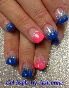 Light Elegance. Neon Pink & Blue Paint. Sugar coated glitter gel fade.