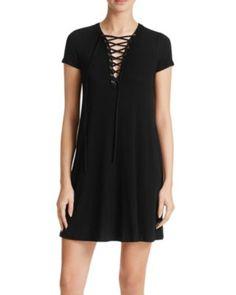 AQUA Rib Lace-Up Dress | Bloomingdale's