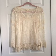 NWT Cream Lace Top! cream lace top never worn! great condition! Adiva Tops Blouses