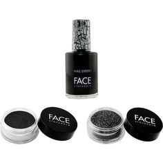 FACE Stockholm Black with Nail Polish Set ($19) ❤ liked on Polyvore featuring beauty products, nail care, nail polish, nail, no color, face stockholm and face stockholm nail polish