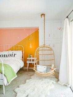 What a cute painted accent wall in a kids room. I also like the hanging chair. Home Bedroom, Girls Bedroom, Bedroom Decor, Bedroom Ideas, Bedroom Swing, Bedroom Chair, Trendy Bedroom, Scandi Bedroom, Master Bedroom