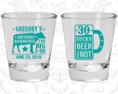 30th Birthday Shot Glass, BBQ Birthday Shot Glass, Barbeque Birthday Shot Glass, Birthday Shot Glass, Birthday Glass (20248)