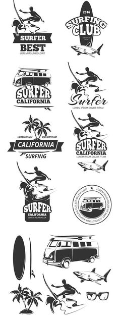 Surfing vector labels. Sport Icons. $7.00