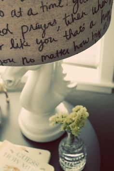 Sharpie on a burlap lamp shade. @ DIY Home Cuteness--prayers, poems, favorite quotes, scripture, letters....The possibilities are endless.