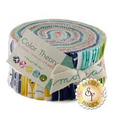 """Color Theory Jelly Roll by V & Co. for Moda Fabrics. Color Theory is a collection by V & Co. for Moda fabrics. This jelly roll contains 40 strips, each measuring 2 1/2"""" wide."""