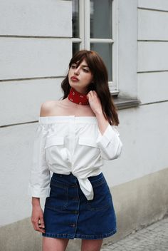 H / Laura Matuszczyk: DENIM SKIRT & OFF-THE-SHOULDER SHIRT