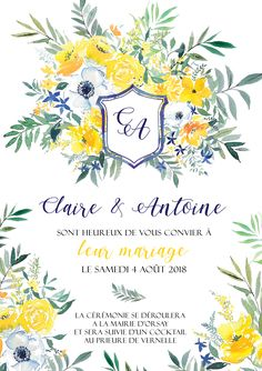 Faire-part mariage aquarelle, fleurs, jaune, bleu, blason, coloré, joyeux, champêtre, bucolique Atelier Eksento Faire Part Photo, Blue Hour, Diy Invitations, Flower Power, Fun Crafts, Wedding Inspiration, World, Creative, Flowers