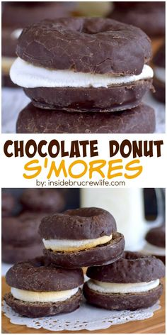 Toasted marshmallows inside chocolate donuts adds a fun new twist to summer s'mores.