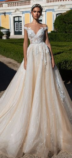 Off the shoulder a line heavy embellishment ball gown wedding dress : Milla Nova wedding dress #weddingdress #weddinggown #wedding #bridedress