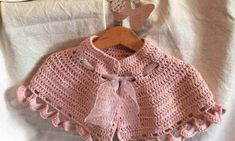 The shawl crochet is designed for an important event for a girl, for their first communion, with this as romantic as it offers the pink color Crochet Baby Cardigan, Baby Girl Crochet, Crochet Baby Hats, Crochet For Kids, Crochet Shawl, Crochet Yarn, Crochet Clothes, Baby Knitting, Free Crochet