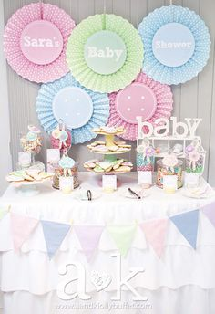 Such a great dessert table at a pastel baby shower! See more party ideas at CatchMyParty.com! #partyideas #babyshower