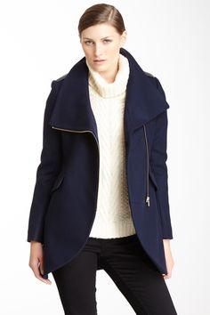 French Connection: Leather Trim Tulip Wool Blend Coat : Perfect Navy Fall Coat