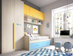 H223 #Habitaciones juveniles en las que podrás combinar los colores a tu gusto gracias a la extensa carta de colores de la que dispone #Rimobel .No desaproveches el espacio y dale un toque diferente gracias a las nuevas puertas de #Armario Gamma
