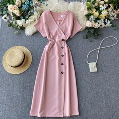 Vintage Slim V Neck Button Midi Long Dress Vintage Outfits, Classy Outfits, Pretty Outfits, Stylish Outfits, Vintage Dresses, Cute Outfits, Vintage Long Dress, Stylish Eve, Simple Dresses