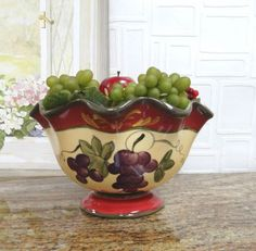 Tuscany-Grapes-Hand-Painted-Pedestal-Fruit-Bowl-by-ACK-Holiday-Serving-Kitchen