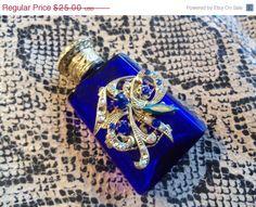 Vintage Rhinestone Perfume Bottle Cobalt Blue Collectible