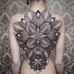 Symmetrical Full Back Tattoo by Chaim Machlev