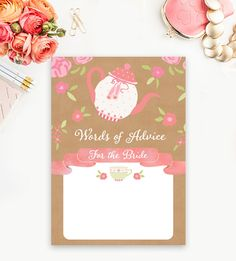 Bridal Shower Activity  Words of Advice for the Bride Rustic Kraft Tea Party      Instant Download Printable