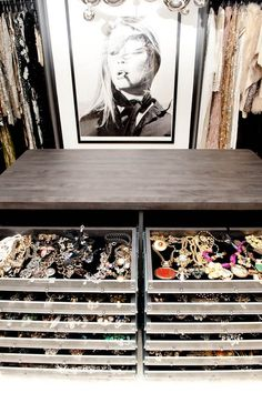 I like the idea of using shallow drawers for my jewelry. No need to fuss with necklaces to hang them up