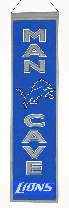 a3ee3ebfda0 Detroit Lions NFL Wool Man Cave Banner