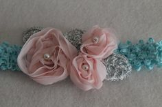 Baby Headband Photo Prop  Chiffon Flower's Wedding by JennCannon, $14.99