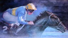 Blue Jockey Limited Edition Horse Racing Print by Equestrian Artist Michael Heslop